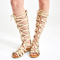 Tall Looped Lace-Up Gladiator Sandals | Wet Seal