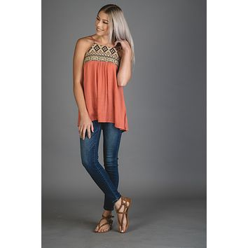 Burnt Coral Embroidered Tribal Tank Top