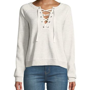 Rebecca Minkoff Raquel Lace-Up Pullover Crewneck Sweatshirt