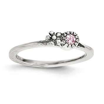 Sterling Silver Pink CZ Flower Kid's Ring
