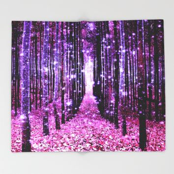 Magical Forest Pink & Purple Throw Blanket by 2sweet4words Designs