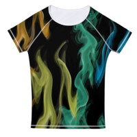 Colored Flames Tee Shirt Womens