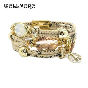 WELLMORE 17 new snake-print Leather bracelet,Stone, crystal,Peace mark Bohemian bracelets&bangles for women jewelry wholesale