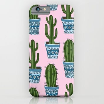 Cactus Pattern (Pink) iPhone & iPod Case by Sarah Oelerich