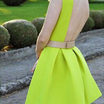 Neon Green Backless Skater Dress