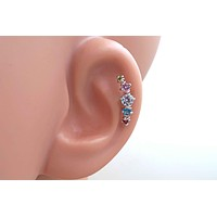 Rainbow Crystal Helix Cartilage Earring Climber