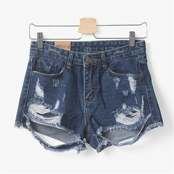 New Mid Waist Stretch Denim Shorts Sexy Women Jeans Short Plus Size Super Quality Feminino Destroyed Dirty Pocket Ladies D027
