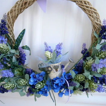 winter wreath, front door summer wreath, wicker wreath, lavender, spring wreath, year round wreath, shabby chic decor, bridal shower wreath