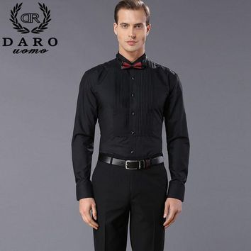 DCCKHN1 New Arrival fashion drape adornment cotton men's shirts long sleeve pure color male tuxedo shirt DR883 camisas hombre