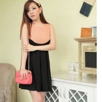 Sweet Special Cutting Splicing Dress Black (High Quality)