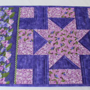 Quilted Placemat - Sweet Pea Flowers - Purple Table Topper - Floral Table Mat