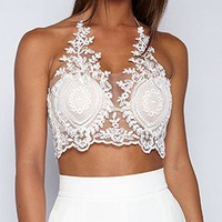 DCCKHQ6 White Halter Lace Zip Back Crop Bralette Top
