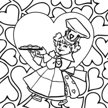 Queen of Hearts adult coloring page digital coloring book page printable mother goose art poster