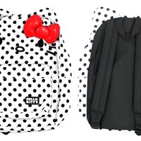 Hello Kitty Backpack with Ears - Black and White Polka Dot