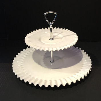 Fenton Hobnail Milk Glass Two Tier Appetizer Tray, Fenton Milk Glass Hobnail Two Tiered Dessert Stand, Wedding Decor, Elegant Cake Stand