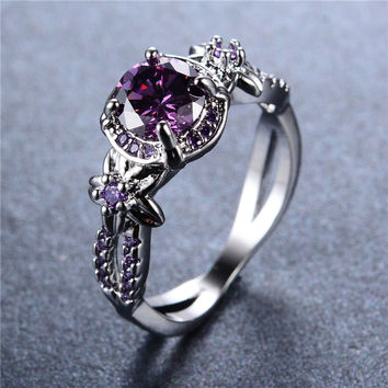 925 Sterling Silver Ring Vintage Hollow Round Amethyst Jewelry for Women Purple Zircon Claw Rings Aneis Wedding Band Gift RW1409