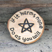 Wiccan altar tile, altar decor, pagan altar tile, wiccan rede, if it harms none, wiccan charm, ritual talisman, yule decor, yule gift