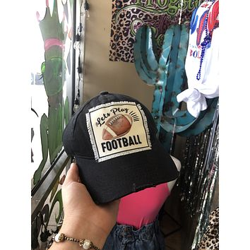 Let's play football distressed cap