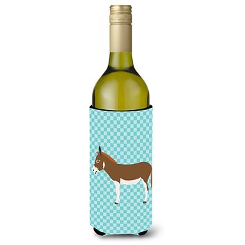 Miniature Mediterranian Donkey Blue Check Wine Bottle Beverge Insulator Hugger BB8021LITERK