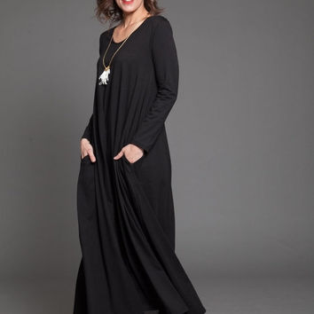 ON SALE Black maxi dress - women dress with long sleeves - oversize black winter maxi dress - oversize black dress - casual dress - black fr