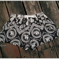 Black Elephant Shorts Printed Boho Hobo Beach Summer Exotic Elegant Women Clothing Aztec Ethnic Bohemian Ikat Boxers Cute Rayon Cotton