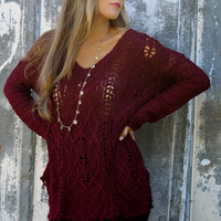 Sweater District Burgundy V-Neck Open Knit Sweater With Raw Hem