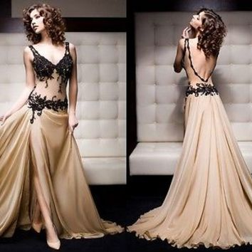 Sexy New Custom Size Appliqued Formal Long Mermaid Lace Prom Evening Dress 2014