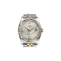 Rolex Oyster Perpetual Datejust 36 Silver Floral Motif Dial Stainless Steel and 18K Yellow Gold Rolex Jubilee Automatic Unisex Watch 116233SFAJ