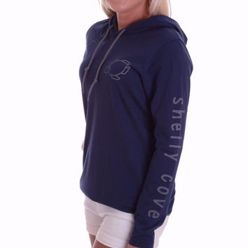 Navy Lightweight Hooded Tee with Pewter Gray Signature Turtle and Arm Imprint