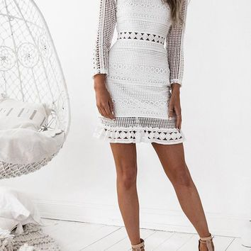 Casual White Cut Out Lace Las Vegas Bodycon Long Sleeve Party Mini Dress