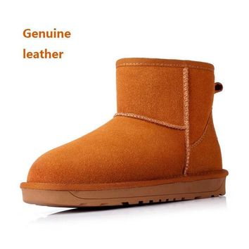 2016 new women's winter genuine leather snow ankle boots Ladies Womens Girls Fur Lined