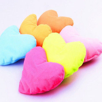 1x Home Kids Bed Pink Heart-shaped Pillow Creative Plush Pet Dog Cat Toy 3CAU