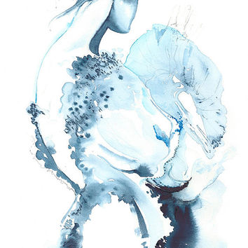 Archival Prints, fashion Illustration. Cate Parr  - Titled: Cerulean
