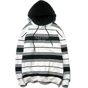 Supreme Tide brand autumn and winter models men and women hooded striped sweater