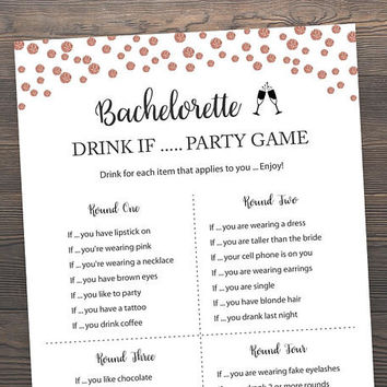 Rose Gold Bridal Shower Games, Bachelorette Drink If Game, Hens Party Game, Rose Gold Drink If Game, Bachelorette Party, Printable, RSB7