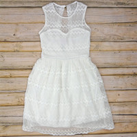 Zig Zag Lace Dress - White | .H.C.B.