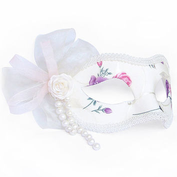 White And Floral Printed Masquerade Mask - Brocade Fabric Covered Venetian Mask Decorated With White Rose And Pearls