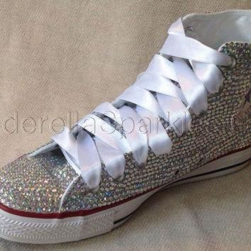 ICIKGQ8 white chuck taylor high tops crystal rhinestone converse bridal prom romany