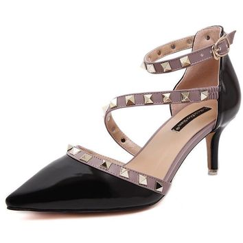 Women Pumps Ladie Sexy Pointed Toe Rivets High Heels Fashion Buckle Studded Stiletto H