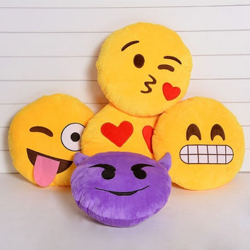Cute Emoji Smiley Emoticon Yellow Round Cushion Pillow Stuffed Plush Toy Doll