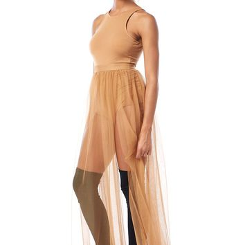 Ballerina Nude Sheer Mesh Maxi Dress