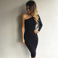 2016 One shoulder dress High neck white party dresses black sexy club bodycon dress bandage autumn winter women dress vestidos