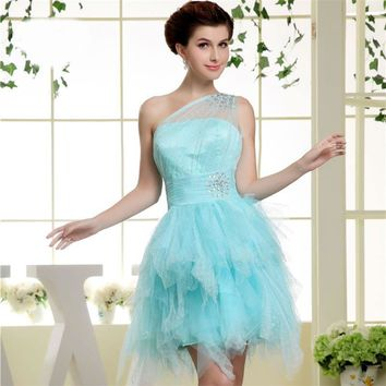 Tulle Short Cocktail Dress Mint One Shoulder Zipper A-line Formal Wedding Party Dress Sexy