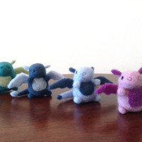 Needle Felted Dragon Magnets - Felt animal, handmade, felt dragons, miniature dragons, fantasy, mythical creatures