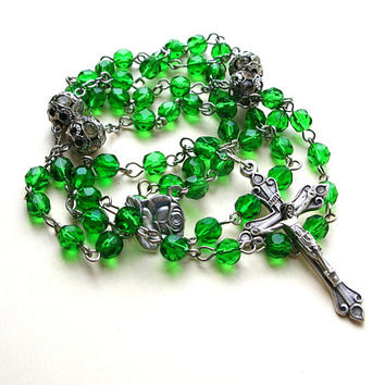 Catholic Rosary Beads - Emerald Green Glass Rosary - Prayer Beads - Green Rosary