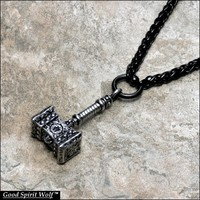 Large Viking War Hammer Design Pendant On Luxurious Black Viking Weave Stainless Steel Necklace