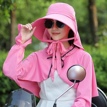 Solid Color Bucket Sun Hat With Shawl