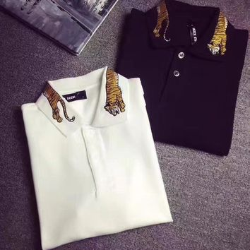 cc kuyou gucci tiger embroidery polo