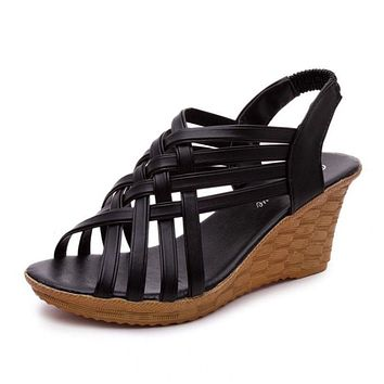 Women Sandals Wedge Shoes Women Summer Sandals Platform Fashion Ladies Shoes Black Cross