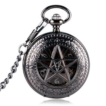 Luxury Nurse Pocket Watch Clock Hour Fob With Chain Supernatural  Steampunk Wind Up Pendant Mechanical Pentagram For Men Women